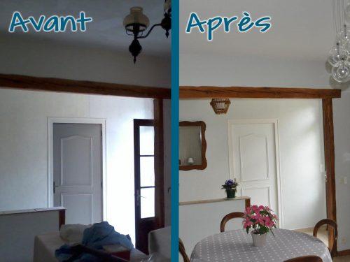 Mise en peinture murs et plafond pour un espace plus moderne.