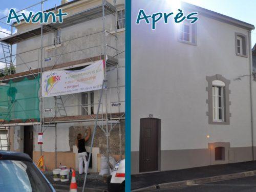 Remise en état d'une façade avec système d'imperméabilisation et création de tableau de fenêtre