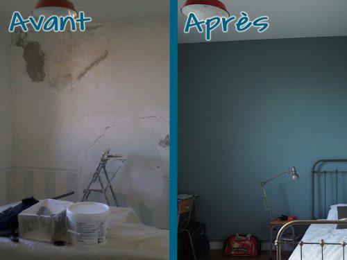 Rénovation et mise en peinture des murs et du plafond, suite à un dégât des eaux.
