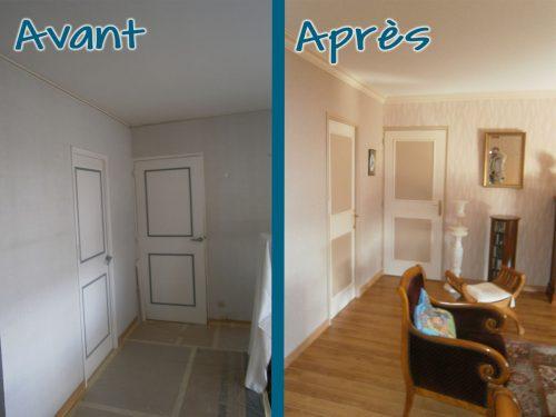 Pose d'un nouveau papier peint et mise en peinture du plafond et des portes